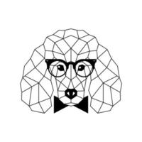 Polygonal Poodle Dog in fashion glasses and bow tie. Geometric dog icon. vector