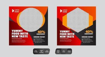 Plantilla de diseño de publicación de banner de redes sociales de comida de restaurante vector