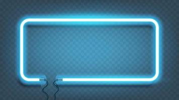 Neon rectangle lamp wall sign isolated. Vector blue power glowing bulb banner, light line or neon frame for your design.