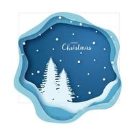 Origami snowy Christmas tree forest. Merry Christmas and Happy New Year. Paper art style. Greeting card. vector