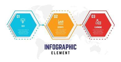 plantilla de elemento de infografía empresarial, plantilla de proceso de paso vector