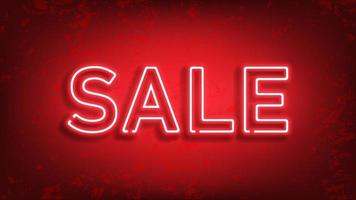 Sale glowing neon sign. Light vector on red background for your advertise, discounts and business.