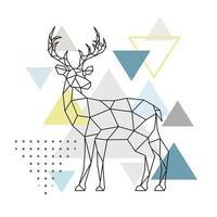 Abstract geometric deer. Side view. Scandinavian style. vector