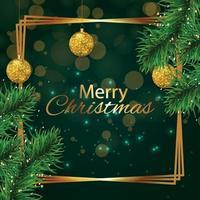 Tarjeta de felicitación de celebración de feliz Navidad con ramas de árboles y adornos de oro vector