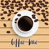 Realistic top view black coffee cup with beans on wooden background. vector