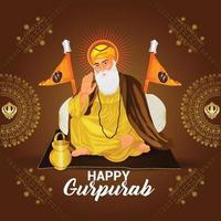 diseño de tarjeta navideña feliz gurpurab vector