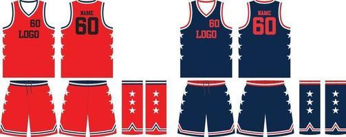 Jersey y pantalones cortos reversibles de uniformes de baloncesto de diseño personalizado vector