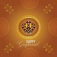 fondo creativo con símbolo sikh ek onkar happy gurpurab vector
