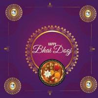 Happy bhai dooj background with marigold and puja thali vector
