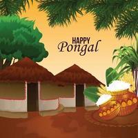 Happy pongal indian festival celebration vector
