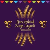 ilustración vectorial de un fondo para el festival feliz guru gobind singh jayanti para la celebración sij. vector