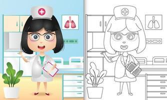 libro para colorear para niños con una ilustración de personaje de enfermera linda chica vector