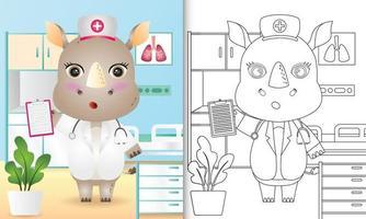libro para colorear para niños con una linda ilustración de personaje de enfermera rinoceronte vector