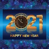 feliz año nuevo 2021 diseño de texto dorado vector