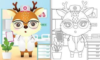 libro para colorear para niños con una linda ilustración de personaje de enfermera ciervo vector