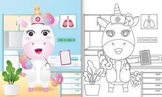 libro para colorear para niños con una linda ilustración de personaje de enfermera unicornio vector