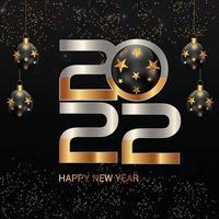 feliz año nuevo 2022 diseño de texto dorado vector