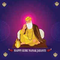 banner o encabezado feliz guru nanak jayanti vector