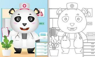 libro para colorear para niños con una linda ilustración de personaje de enfermera oso panda vector