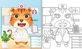 libro para colorear para niños con una linda ilustración de personaje de enfermera tigre vector