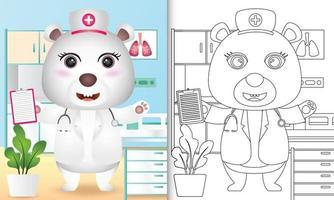libro para colorear para niños con una linda ilustración de personaje de enfermera de oso polar vector