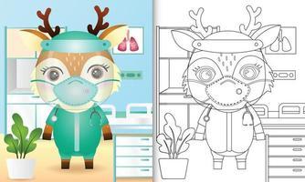 libro para colorear para niños con una linda ilustración de personaje de ciervo vector
