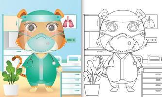 libro para colorear para niños con una linda ilustración de personaje de tigre vector