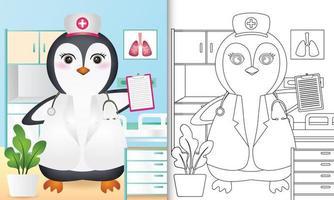 libro para colorear para niños con una linda ilustración de personaje de enfermera pingüino vector