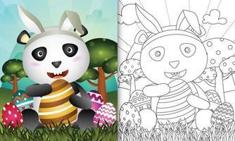 libro para colorear para niños con tema de pascua con un lindo panda usando diademas de orejas de conejo abrazando un huevo vector