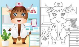 libro para colorear para niños con una linda ilustración de personaje de enfermera búfalo vector