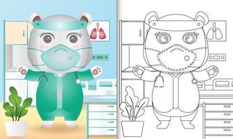 libro para colorear para niños con una linda ilustración de personaje de oso polar vector