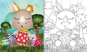 libro para colorear para niños con tema de pascua con un lindo rinoceronte que usa diademas de orejas de conejo abrazando huevos vector