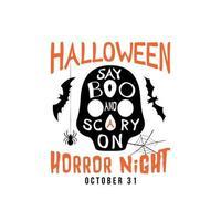 diseño de volante de fiesta de halloween. el texto dice abucheo y miedo en el texto en silueta de calavera. vector