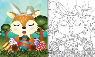libro para colorear para niños con tema de pascua con un lindo ciervo con orejas de conejo vector