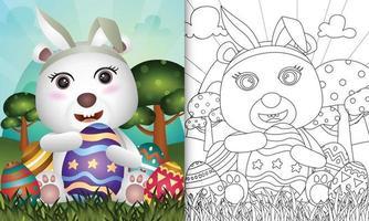 libro para colorear para niños con tema de pascua con un lindo oso polar con orejas de conejo vector