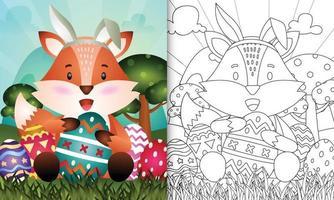 libro para colorear para niños con tema de pascua con un lindo zorro que usa diademas de orejas de conejo abrazando huevos vector