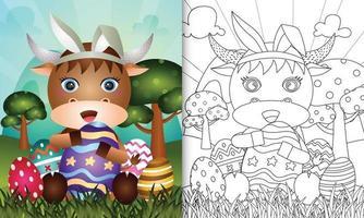 libro para colorear para niños con tema de pascua con un lindo búfalo con orejas de conejo vector