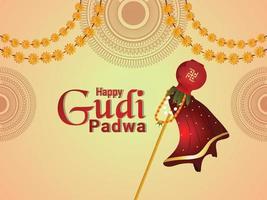Happy gudi padwa card vector