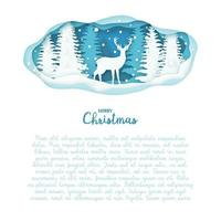 Deer on winter forest in paper cut. Christmas, new year modern design vector