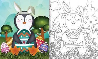libro para colorear para niños con temática de pascua con un lindo pingüino con orejas de conejo vector