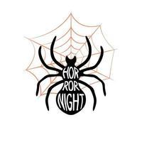 diseño de tarjeta de felicitación de feliz halloween. texto noche de terror en silueta de araña. vector