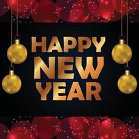 feliz año nuevo tarjeta de celebración dorada vector
