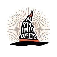 sombrero de bruja con letras fiesta halloween. diseño de flyer. vector