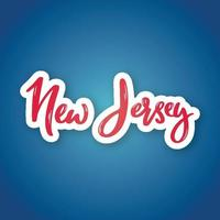 New Jersey - hand drawn lettering name of USA state. Sticker with lettering in paper cut style. vector