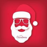 tarjeta de navidad, santa claus con gafas. estilo de arte de papel. vector