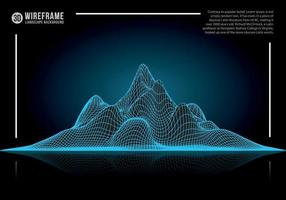 Abstract wireframe landscape background. Cyberspace neon blue mountain vector illustration.