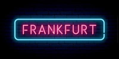 Frankfurt neon sign. Bright light signboard. vector