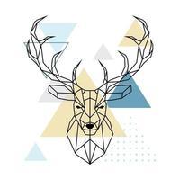 cabeza poligonal de ciervo. estilo escandinavo. ilustración vectorial. vector
