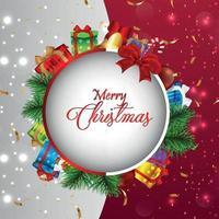venta de navidad tarjeta de felicitación con regalos vector