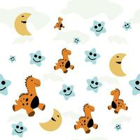 dinosaur with star and moon seamless pattern perfect for toddler's backrop birthday vector